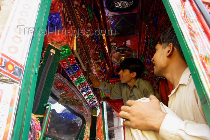 pakistan204: Peshawar, NWFP, Pakistan: boys working in a truck painting workshop - photo by G.Koelman - (c) Travel-Images.com - Stock Photography agency - Image Bank
