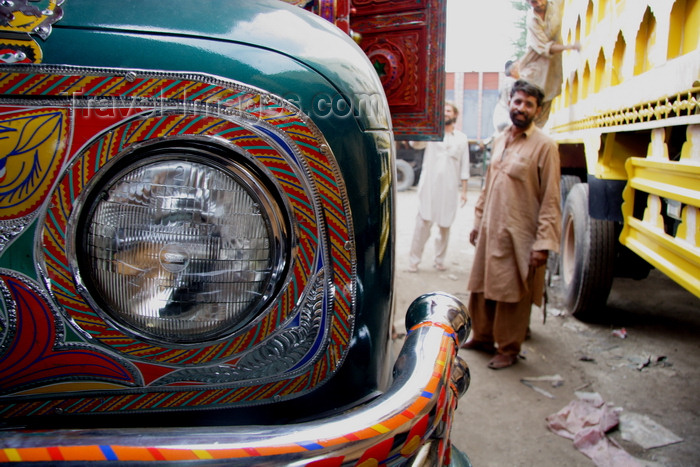 pakistan205: Peshawar, NWFP, Pakistan: decorated detail of truck - head light - photo by G.Koelman - (c) Travel-Images.com - Stock Photography agency - Image Bank