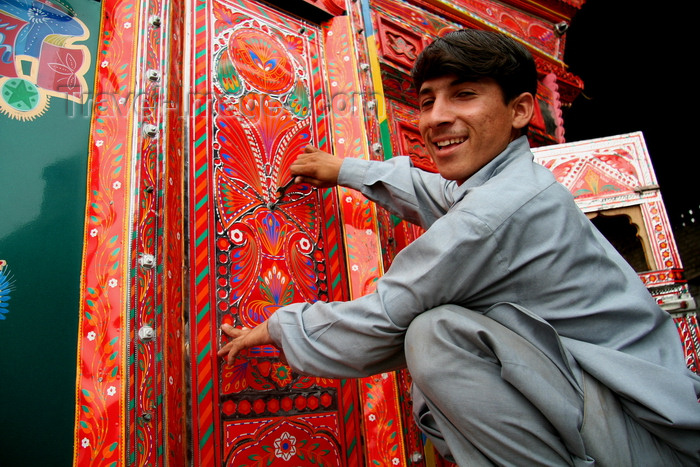 pakistan206: Peshawar, NWFP,  Pakistan: boys painting in a truck workshop - photo by G.Koelman - (c) Travel-Images.com - Stock Photography agency - Image Bank