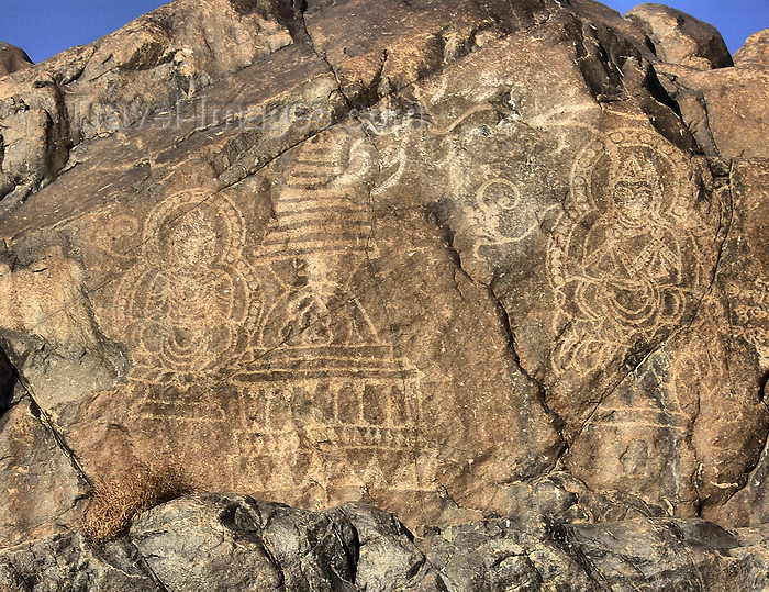 pakistan22: Gilgit - Northern Areas / FANA, Pakistan: petroglyphs along the KKH - ancient rock carvings - feretory / stupa and Buddhist figrt from 800 AD - Karakoram Highway - photo by D.Steppuhn - (c) Travel-Images.com - Stock Photography agency - Image Bank