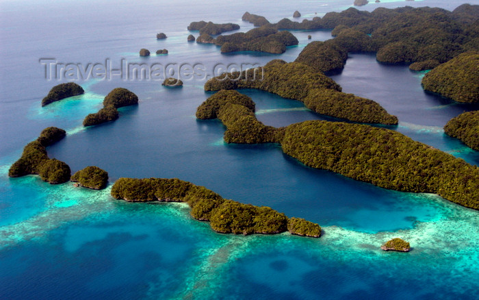 palau10: Rock Islands / Chelbacheb, Koror state, Palau: aerial view - ancient coral reefs - photo by B.Cain - (c) Travel-Images.com - Stock Photography agency - Image Bank