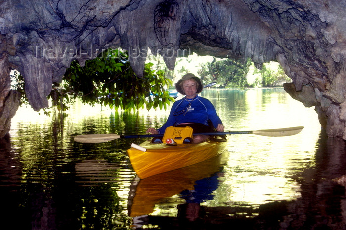 palau13: Rock Islands / Chelbacheb, Koror state, Palau: sea Kayaker in cave - photo by B.Cain - (c) Travel-Images.com - Stock Photography agency - Image Bank