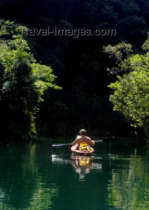 palau14: Rock Islands / Chelbacheb, Koror state, Palau: sea kayaker paddling- photo by B.Cain - (c) Travel-Images.com - Stock Photography agency - Image Bank