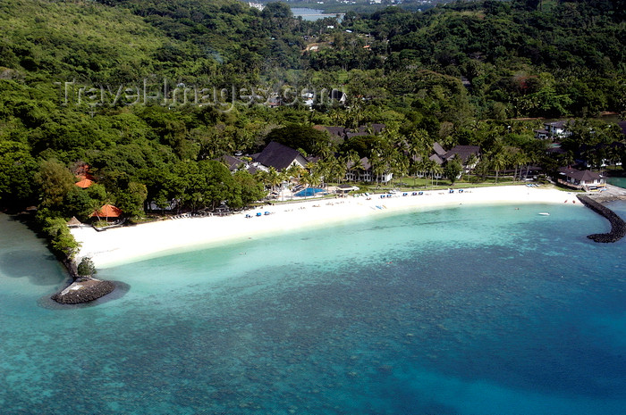 palau40: Arakabesan Island, Koror state, Palau: white sand beach of Palau Pacific Resort, built over a Japanese seaplane base - from the air - photo by B.Cain - (c) Travel-Images.com - Stock Photography agency - Image Bank