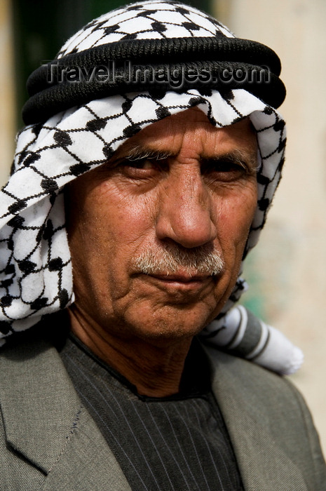 palest21: Hebron, West Bank, Palestine: portrait of local man wearing a keffiyeh scarf - photo by J.Pemberton - (c) Travel-Images.com - Stock Photography agency - Image Bank