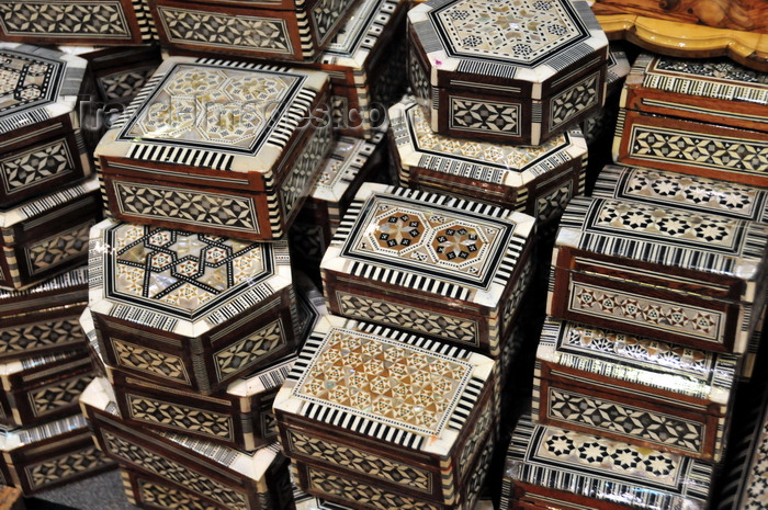 palest3: Bethlehem, West Bank, Palestine: inlaid mother of pearl boxes, made in Syria - photo by M.Torres - (c) Travel-Images.com - Stock Photography agency - Image Bank