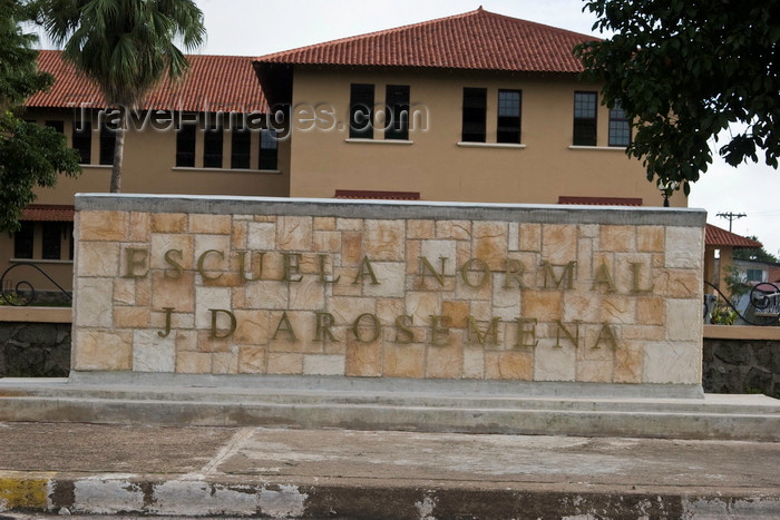 panama611: Santiago de Veraguas, Panama: Escuela Normal Juan Demostenes Arosemena -  school for teachers named after the 15th president of Panama - sign - photo by H.Olarte - (c) Travel-Images.com - Stock Photography agency - Image Bank