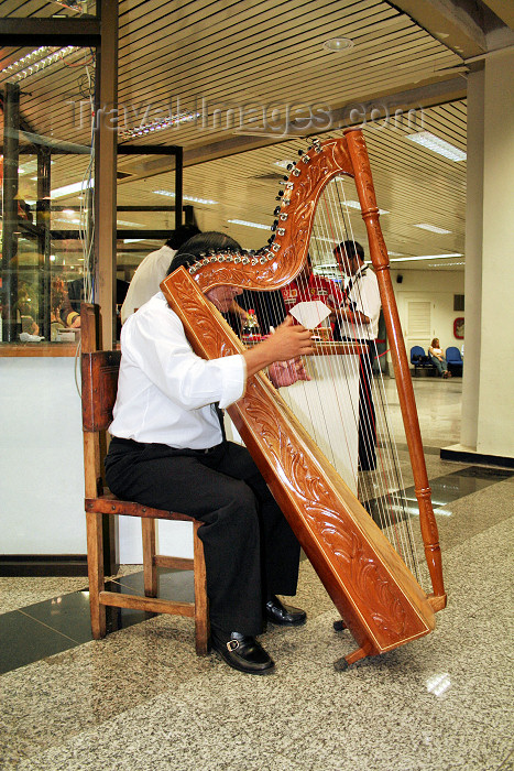 paraguay38: Luque, Departamento Central, Paraguay: Paraguayan harp, with 38 strings turned to one major diatonic scale - musical instrument - musician - art / Arpa paraguaya - photo by A.Chang - (c) Travel-Images.com - Stock Photography agency - Image Bank