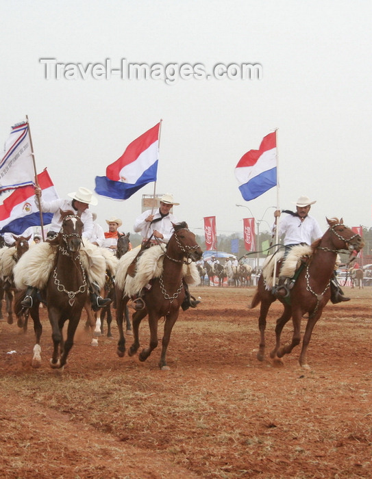 paraguay6: Luque, Departamento Central, Paraguay: horse riders with Paraguayan flags - photo by A.Chang - (c) Travel-Images.com - Stock Photography agency - Image Bank
