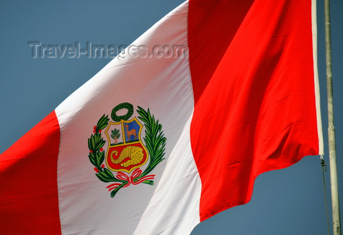 peru100: Lima, Peru: Peruvian flag - coat of arms designed by José Gregorio Paredes and Francisco Javier Cortés - Pabellón Nacional peruano - photo by M.Torres - (c) Travel-Images.com - Stock Photography agency - Image Bank