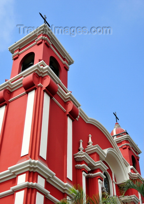 peru102: Lima, Peru: red façade of the Santuario de Santa Rosa de Lima, the first saint of the Americas - photo by M.Torres - (c) Travel-Images.com - Stock Photography agency - Image Bank
