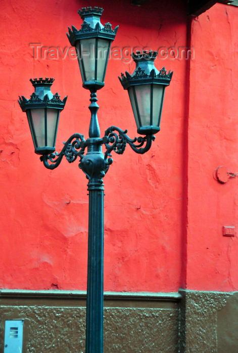 peru70: Lima, Peru: old triple street lamp on Carabaya st - photo by M.Torres - (c) Travel-Images.com - Stock Photography agency - Image Bank