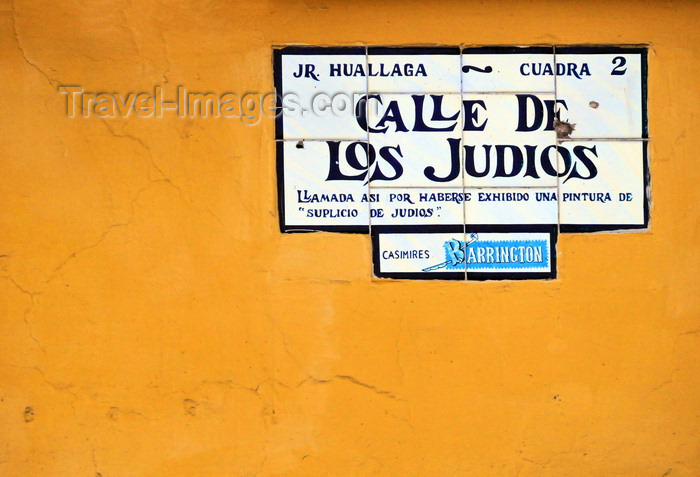 peru74: Lima, Peru: sign at the Street of the Jews - Calle de los Judios - Jirón Huallaga - Pizzaro's grid for the historical center - Damero de Pizarro en el centro histórico de Lima - photo by M.Torres - (c) Travel-Images.com - Stock Photography agency - Image Bank