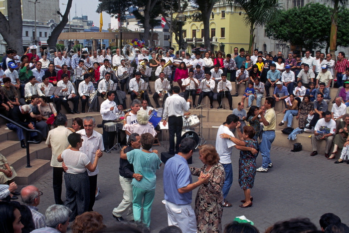 peru77: Miraflores, Lima, Peru: people dance to a brass band - main square - photo by C.Lovell - (c) Travel-Images.com - Stock Photography agency - Image Bank