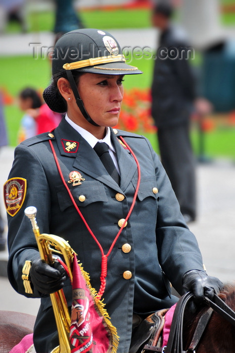 peru87: Lima, Peru: Clarinetist of Peruvian National Police mounted band - Plaza de Armas - change of the guard parade - photo by M.Torres - (c) Travel-Images.com - Stock Photography agency - Image Bank