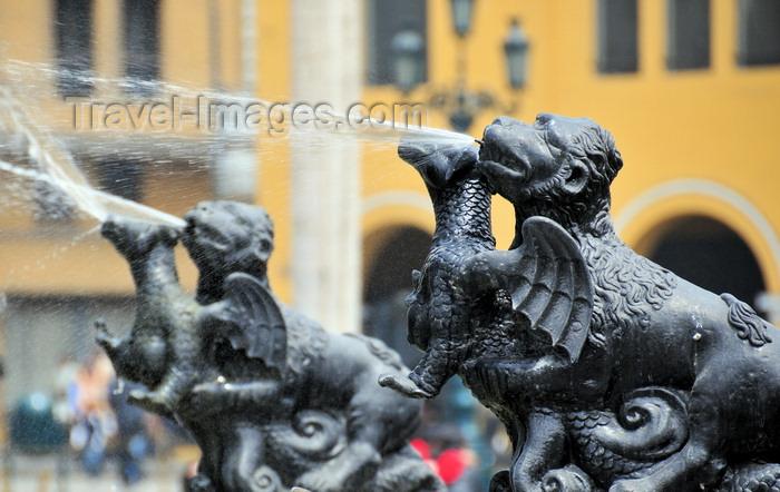 peru90: Lima, Peru: Plaza de Armas - fountain detail - bronze dragons - photo by M.Torres - (c) Travel-Images.com - Stock Photography agency - Image Bank