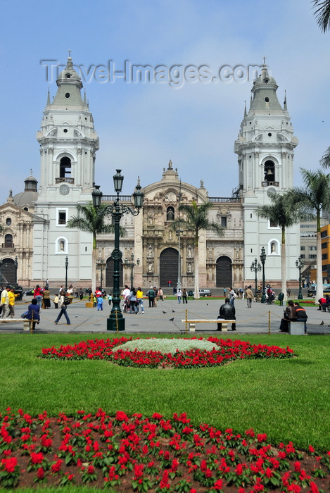 peru92: Lima, Peru: the Cathedral and flowers on Plaza de Armas - Francisco Pizarros' remains are in the interior - photo by M.Torres - (c) Travel-Images.com - Stock Photography agency - Image Bank