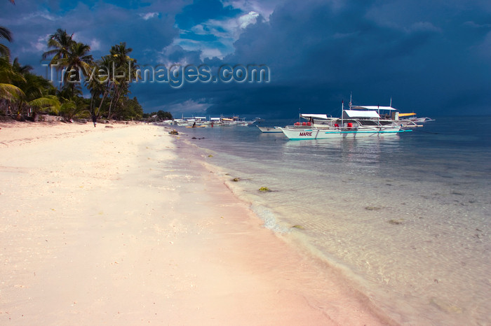 phil50: Alona Beach, Bohol island, Central Visayas, Philippines: traditional banca boats moored by the beach - photo by S.Egeberg - (c) Travel-Images.com - Stock Photography agency - Image Bank
