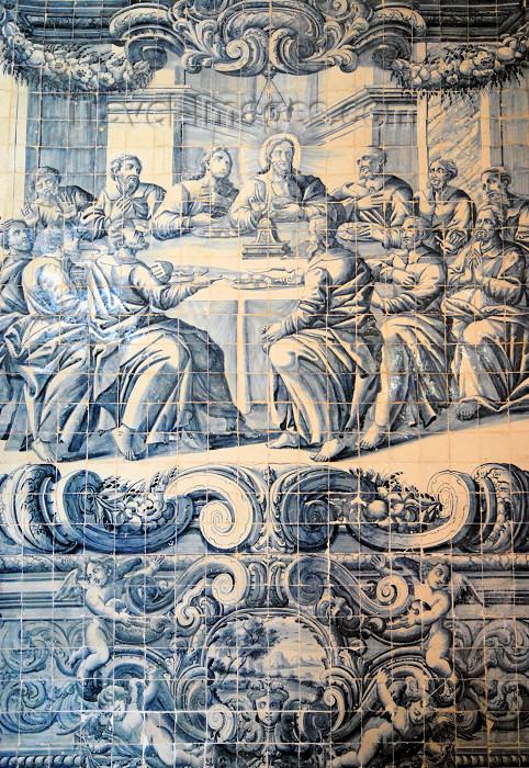 portugal-se170: Portugal - Sesimbra: the last supper - Jesus and the Apostles - tiles at Our Lady of the Castle church - a Última Ceia - Jesus e os Apóstolos - azulejos na Igreja de Nossa Senhora do Castelo - photo by M.Durruti - (c) Travel-Images.com - Stock Photography agency - Image Bank