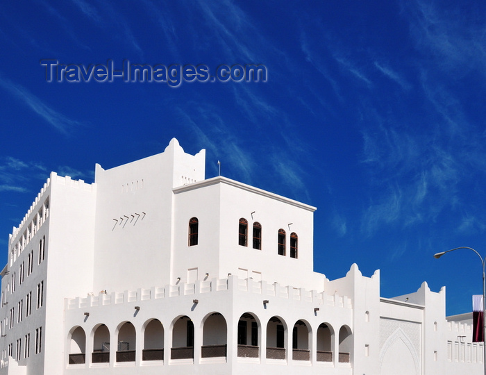 qatar15: Doha, Qatar: white building containing the Amphitheater of Souq Waqif, Ali Bin Abdullah St and Banks St - photo by M.Torres - (c) Travel-Images.com - Stock Photography agency - Image Bank