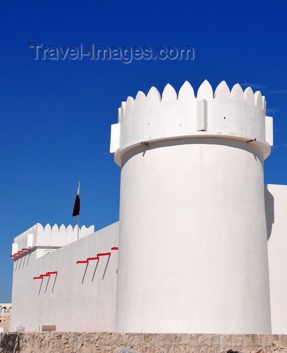 qatar22: Doha, Qatar: Kuwt / Khoot / Koot fort, established by the Ottoman Empire in 1880 - white towers and ramparts - western wall, on Al Asmakh Street - photo by M.Torres - (c) Travel-Images.com - Stock Photography agency - Image Bank