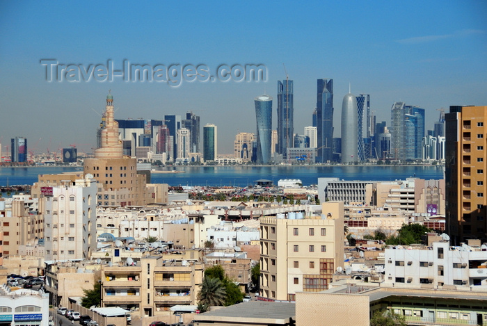 qatar3: Doha, Qatar: old and new Doha - old town skyline with the FANAR minaret and the towers on West Bay skyline accross Doha bay - photo by M.Torres - (c) Travel-Images.com - Stock Photography agency - Image Bank