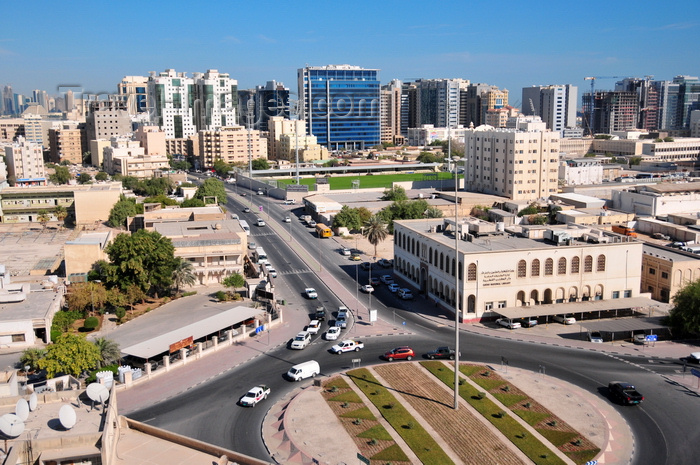 qatar4: Doha, Qatar: view along Jabr Bin Mohd St, round-about at Ras Abu Abboud St - Qatar National Libary, Doha Stadium - photo by M.Torres - (c) Travel-Images.com - Stock Photography agency - Image Bank