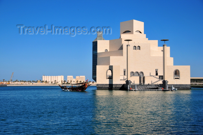 qatar49: Doha, Qatar: dhow near the Museum of Islamic Art - cereal silos in the background - photo by M.Torres - (c) Travel-Images.com - Stock Photography agency - Image Bank