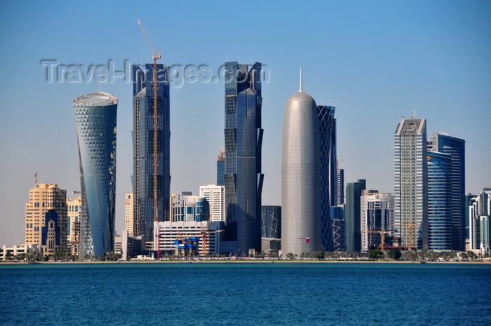 qatar52: Doha, Qatar: north Corniche skyscrapers - Al Bidda Tower, Palm Towers, Burj Qatar, Tornado Tower, Ministry of Awqaf and Islamic Affairs, Al Fardan Twin Towers,  West Bay skyline - photo by M.Torres - (c) Travel-Images.com - Stock Photography agency - Image Bank