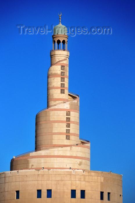 qatar6: Doha, Qatar: Ziggurat like spiral minaret of the Qatar Islamic Cultural Center, FANAR - Abdulla Bin Jasim Street - architect Helmut Jahn - photo by M.Torres - (c) Travel-Images.com - Stock Photography agency - Image Bank