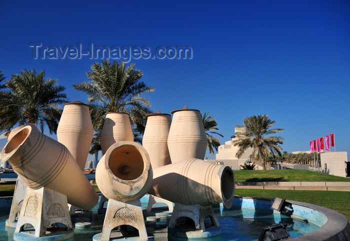 qatar63: Doha, Qatar: Water Pots fountain, Al Corniche - Museum of Islamic Art in the background - photo by M.Torres - (c) Travel-Images.com - Stock Photography agency - Image Bank