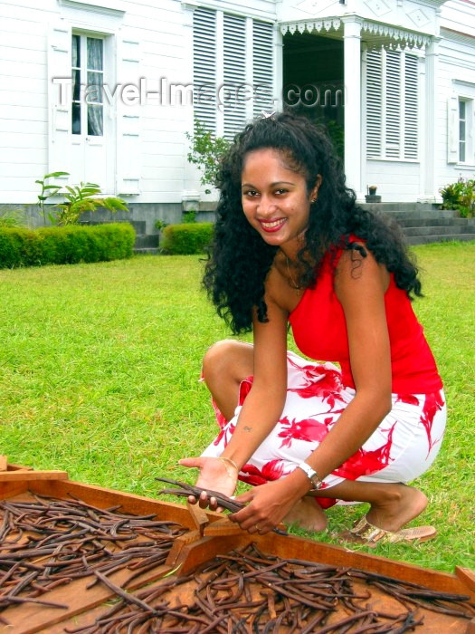 reunion14: Reunion / Reunião - Cirque de Salazie: vanilla with a smile - young creole woman and vanilla drying outside a creole house - photo by R.Eime - (c) Travel-Images.com - Stock Photography agency - Image Bank