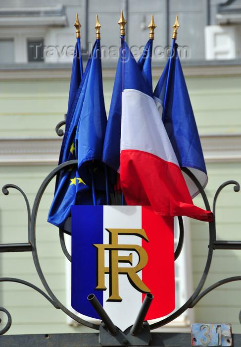 reunion197: Saint-Denis, Réunion: tricolor shield with RF - EU and French flags - public building on Avenue de la Victoire - photo by M.Torres - (c) Travel-Images.com - Stock Photography agency - Image Bank