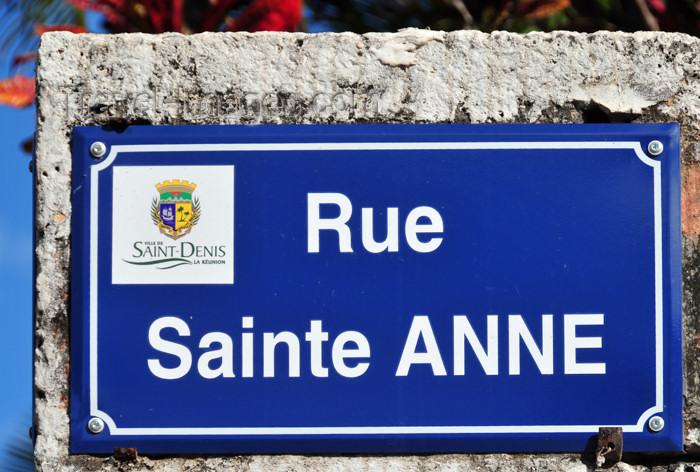 reunion231: Saint-Denis, Réunion: Rue de Sainte Anne - street name sign - photo by M.Torres - (c) Travel-Images.com - Stock Photography agency - Image Bank