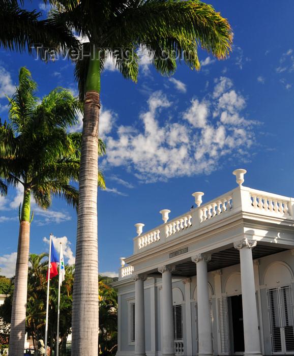 reunion234: Saint-Denis, Réunion: royal palms and Léon Dierx museum - porch - rue de Paris - photo by M.Torres - (c) Travel-Images.com - Stock Photography agency - Image Bank