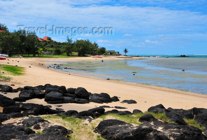 rodrigues26: Anse Mourouk, Rodrigues island, Mauritius: sand and black boulders at Anse Mourouk beach - photo by M.Torres - (c) Travel-Images.com - Stock Photography agency - Image Bank