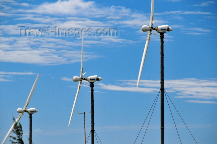 rodrigues32: Trèfles, Rodrigues island, Mauritius: windfarm - wind turbines Vergnet GEV MP 275-32 - photo by M.Torres - (c) Travel-Images.com - Stock Photography agency - Image Bank