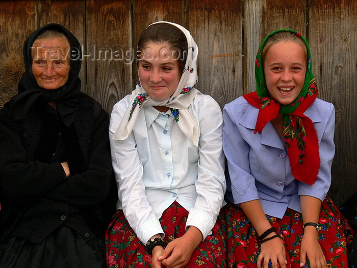 romania152: Ieud, Maramures county, Transylvania, Romania: two generations of Romanian women in traditional clothes - photo by J.Kaman - (c) Travel-Images.com - Stock Photography agency - Image Bank