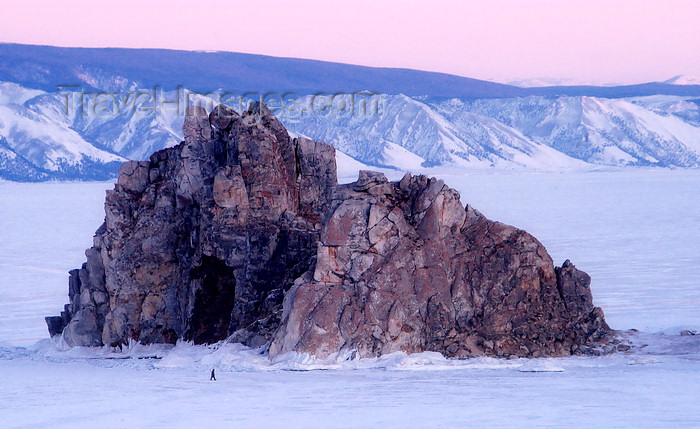 russia19: Lake Baikal, Irkutsk oblast, Siberian Federal District, Russia: Shaman Rock, an enormous massif jutting just off shore - Burkhan cape on Olkhon island - winter landscape - photo by B.Cain - (c) Travel-Images.com - Stock Photography agency - Image Bank