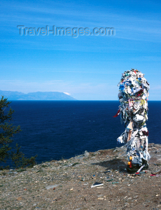 russia21: Lake Baikal, Irkutsk oblast, Siberia, Russia: Russia: northern shore of Olchon Island - Buryat people being superstitious built a remembrance totem - Shamanism - photo by A.Harries - (c) Travel-Images.com - Stock Photography agency - Image Bank