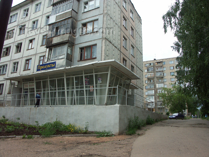 russia456: Russia - Udmurtia - Izhevsk: apartment building and food shop - photo by P.Artus - (c) Travel-Images.com - Stock Photography agency - Image Bank