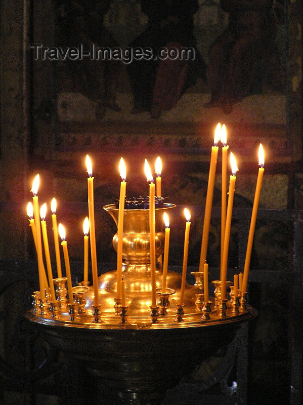 russia547: Russia - Velikiy Novgorod: Candles in Orthodox church - photo by J.Kaman - (c) Travel-Images.com - Stock Photography agency - Image Bank