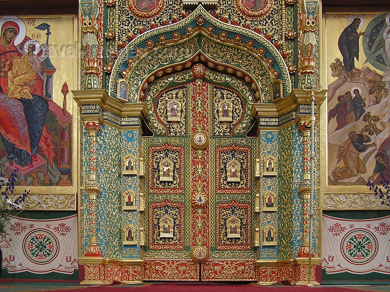 russia609: Russia - Solovetsky Islands: Interior of Transfiguration Cathedral - doors on the iconostasis - photo by J.Kaman - (c) Travel-Images.com - Stock Photography agency - Image Bank