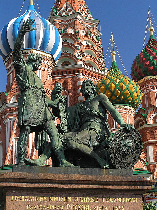 russia695: Russia - Moscow: Monument to Kuzma Minin and Dmitry Pozharsky at St Basil's Cathedral - Red Square - photo by J.Kaman - (c) Travel-Images.com - Stock Photography agency - Image Bank