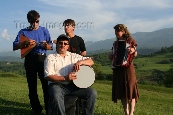 russia781: Chechnya, Russia - Chechen musicians in meadow - folk quartet - photo by A.Bley - (c) Travel-Images.com - Stock Photography agency - Image Bank
