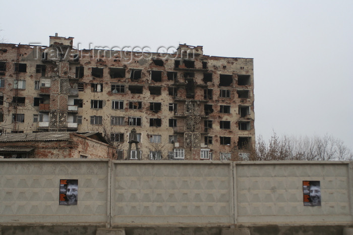 russia792: Chechnya, Russia - Grozny - election posters of president kadyrov in front of destroyed buildings - photo by A.Bley - (c) Travel-Images.com - Stock Photography agency - Image Bank