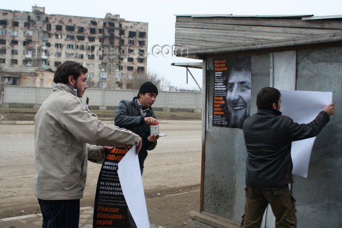 russia793: Chechnya, Russia - Grozny - placing election posters with president Ramzan Kadyrov - photo by A.Bley - (c) Travel-Images.com - Stock Photography agency - Image Bank