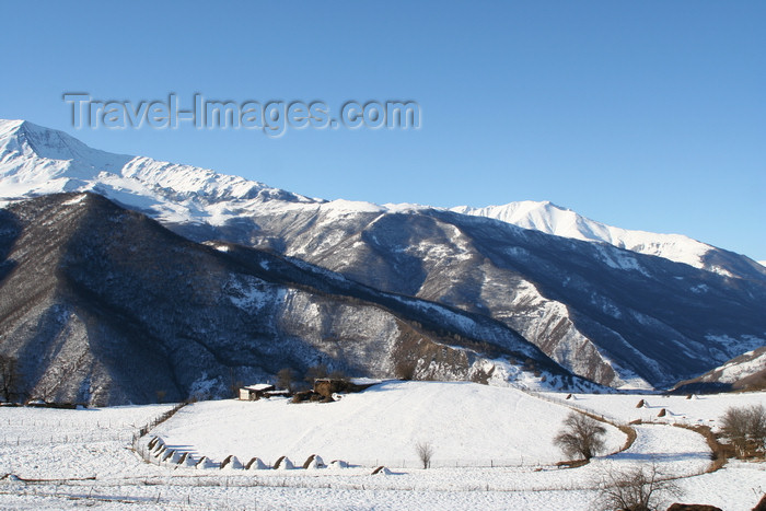 russia797: Chechnya, Russia - landscape in winter - farm and mountains - Northern Caucasus mountains - photo by A.Bley - (c) Travel-Images.com - Stock Photography agency - Image Bank