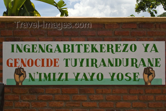 rwanda22: Northern Province, Rwanda: sign asking people to &#145;Stop the Genocide as we are all Rwandans&#146; - photo by C.Lovell - (c) Travel-Images.com - Stock Photography agency - Image Bank