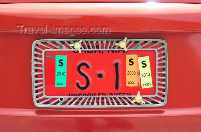 saba64: Windwardside, Saba: VIP registration - car license plate Saba-1 - photo by M.Torres - (c) Travel-Images.com - Stock Photography agency - Image Bank